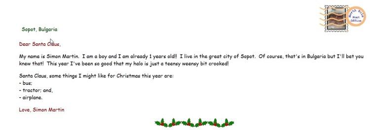 писмо от  Симон Мартин за Дядо Коледа