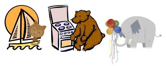 котка-платноходка, мечка-печка, слон-балон