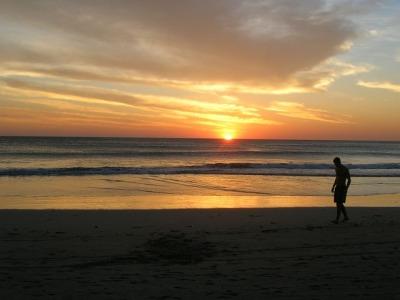 Sunset Beach Sand Walking Man Male Sky Clouds