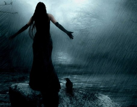 Woman in the sea storm